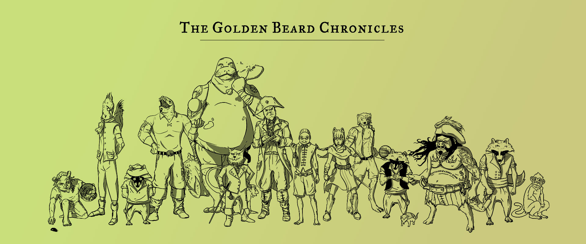 """Personnages de la bande dessinée interactive """"Golden Beard Chronicles"""""""