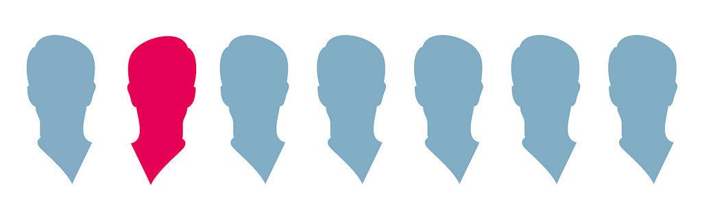 Silhouettes identiques dont une qui se démarque
