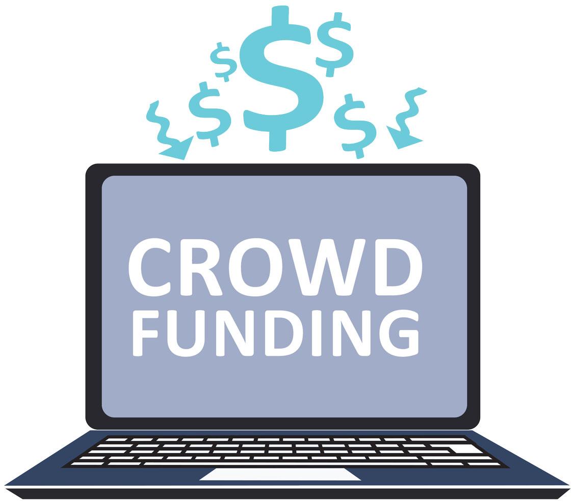 Visuel graphique d'un ordinateur illustrant le crowdfunding