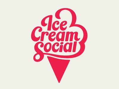 L'écriture Ice Cream Social est posée sur un cornet de glace, et les premières lettres des 3 mots aident à former la glace