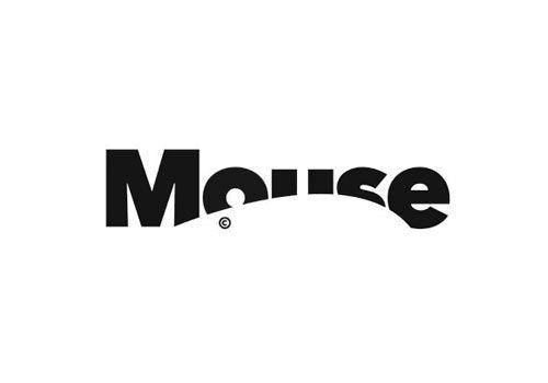 """Mot """" Mouse """" avec la silhouette d'une souris qui cache le mot"""