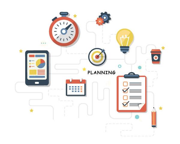 Visuel graphique illustrant la notion de planification d'une documentation de produit