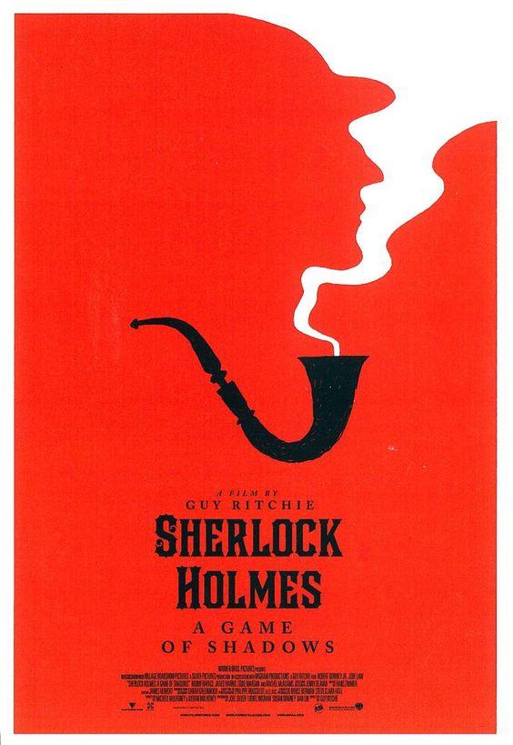 Couverture du film Sherlock Holmes, une simple pipe avec de la fumée qui en sort formant la silhouette du visage du détective