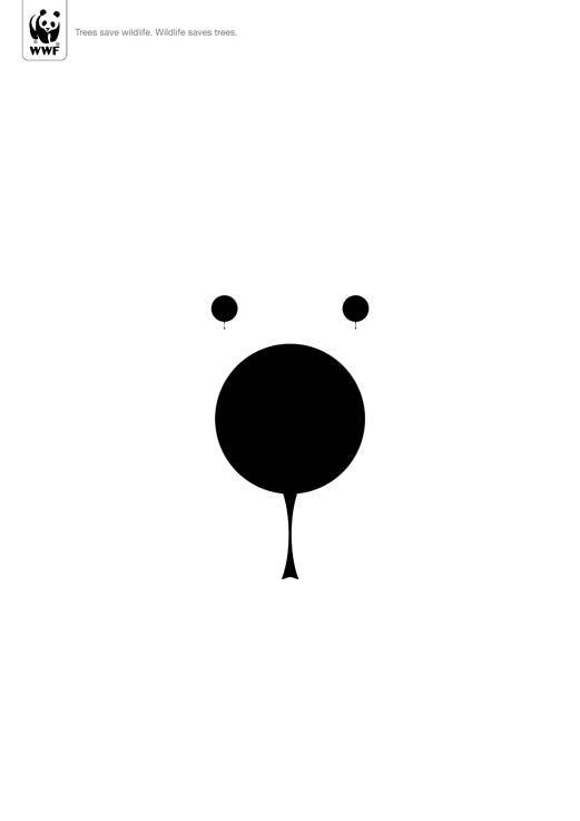 Le visage d'un panda représenté par des formes noires