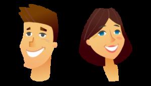 illustration graphique : deux visages heureux d'un homme et d'une femme