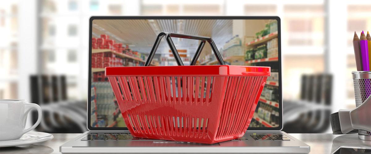 Panier de course dans un ordinateurs pour faire ses achats en ligne