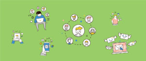 Visuel graphique illustrant la connexion au monde via les réseaux sociaux