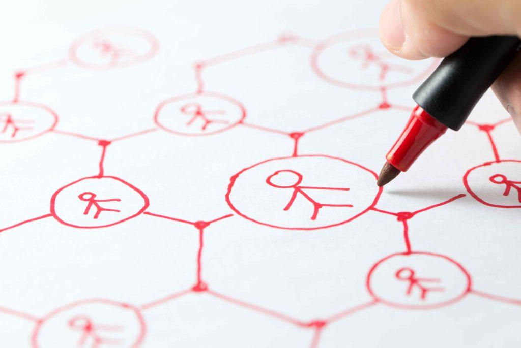 Design présentant les connexions entre les personnes