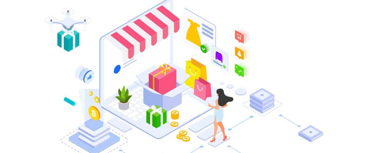 Un personnage animé magasinant sur un site transactionnel