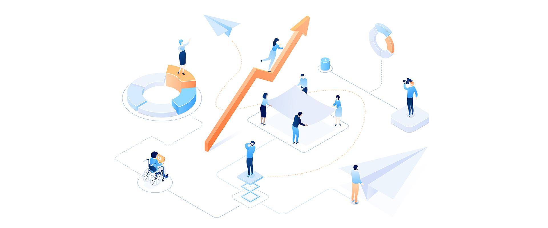 graphic entreprise graph people croissance