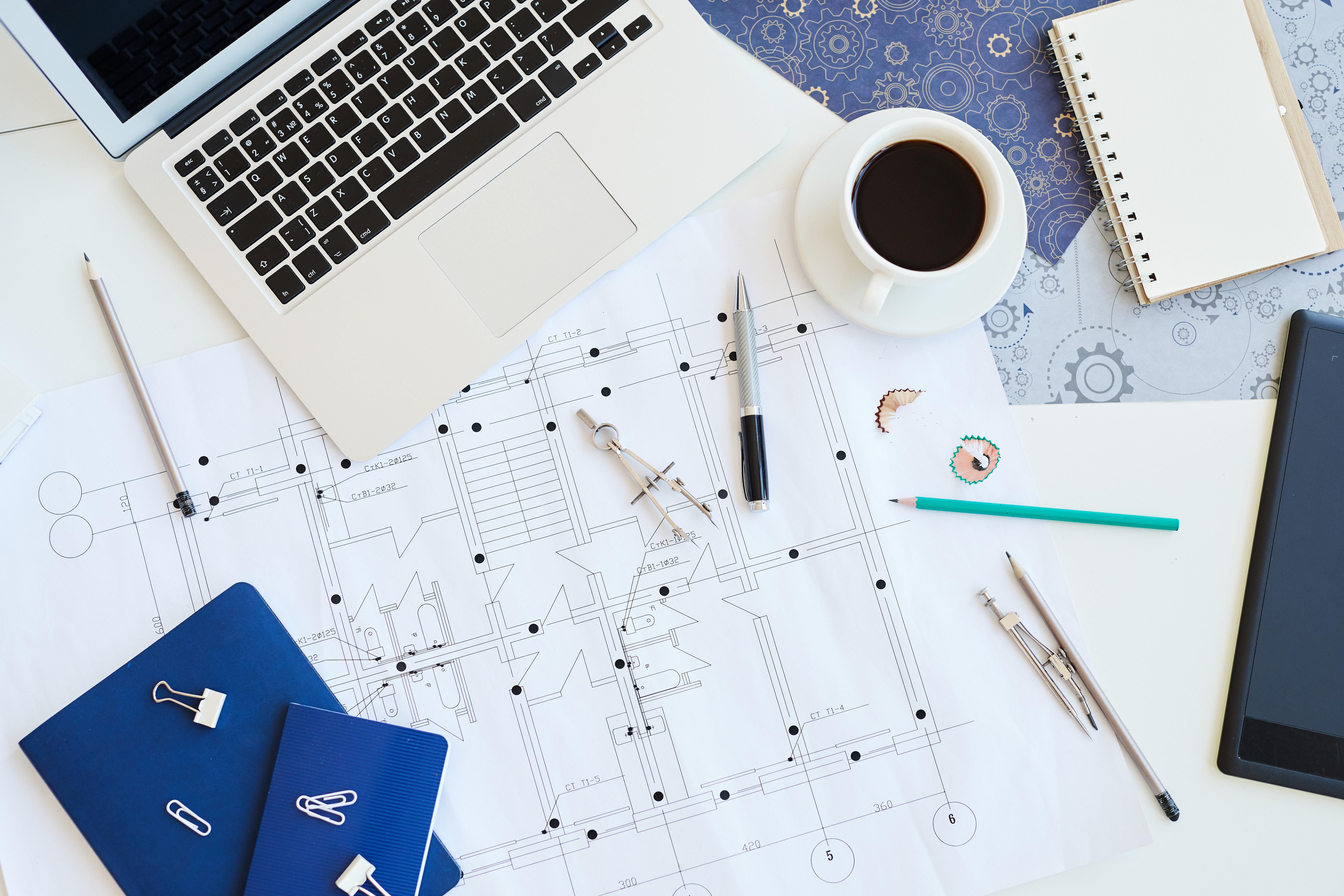 blueprint plan architecte bureau cafe
